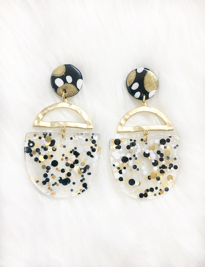 Black & Gold Confetti Glitter Earrings
