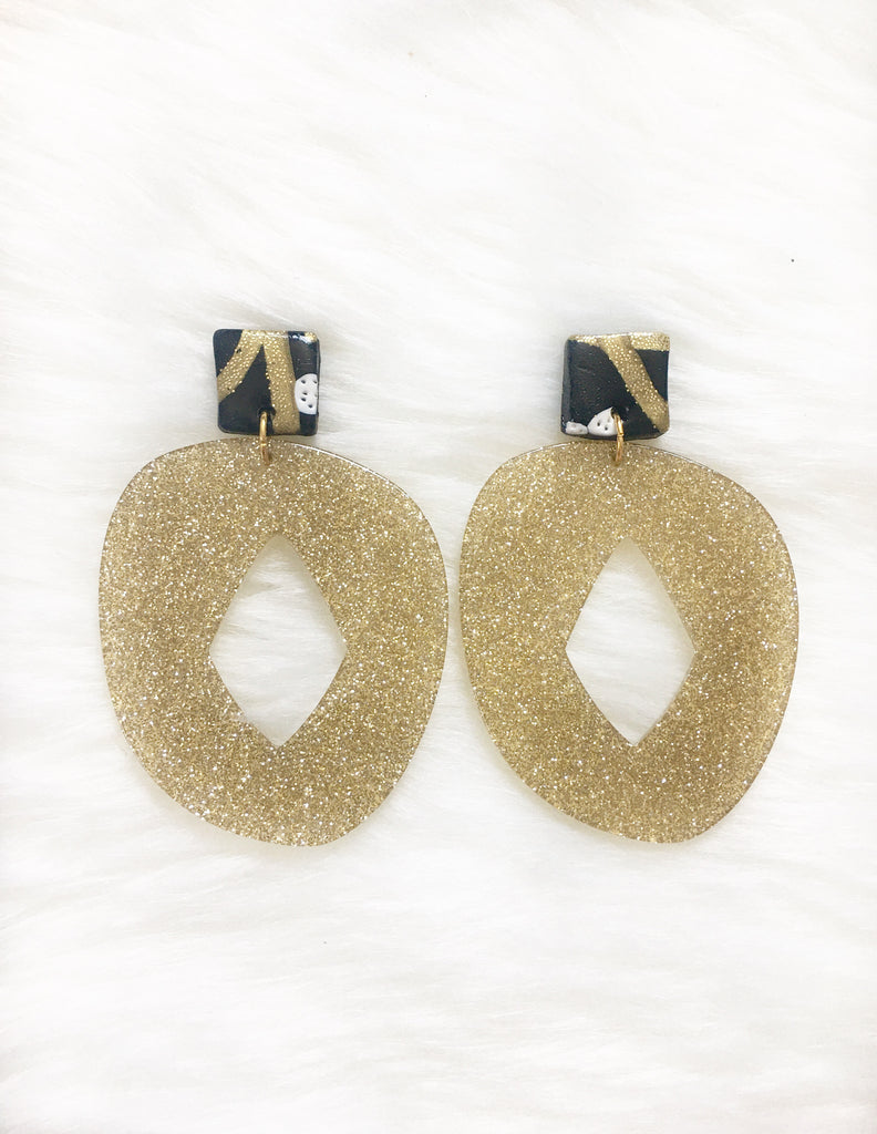 Sparkle Black & Gold Earrings