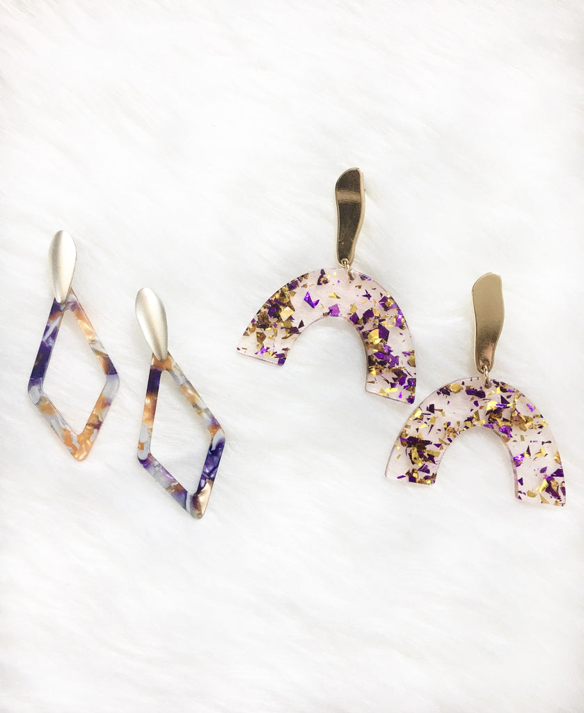Purple & Gold Diamond Resin Earrings