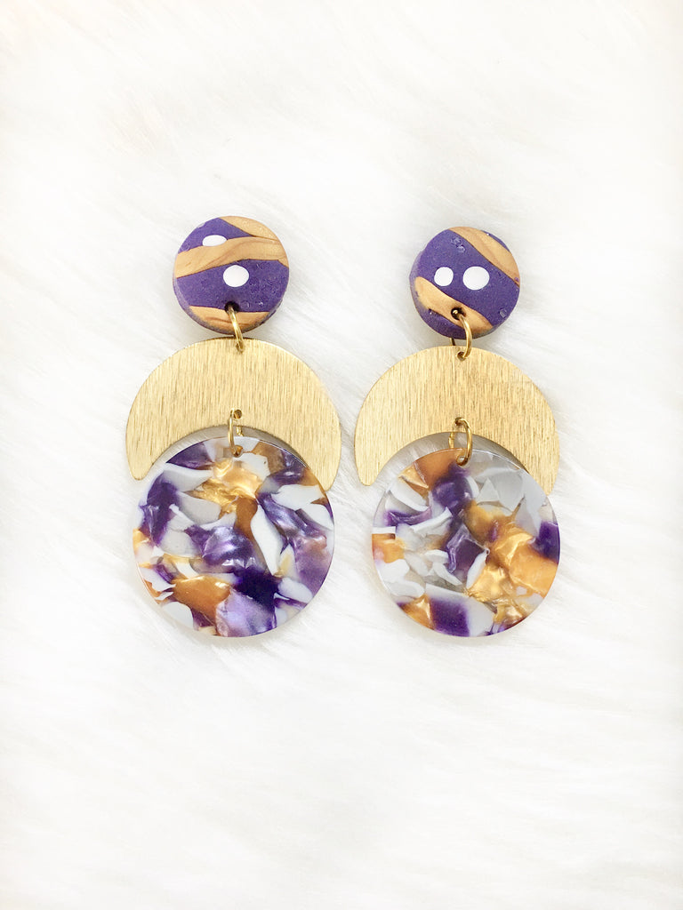 Purple & Gold Moon Earrings