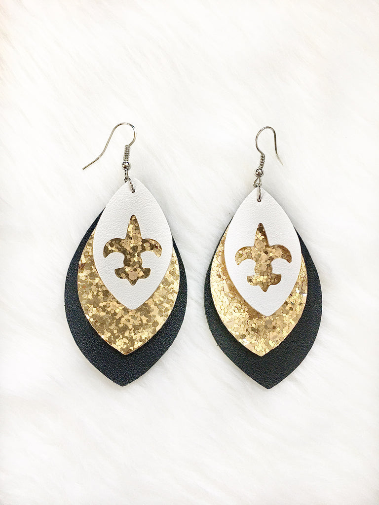 Fleur De Lis Glitter Leather Earrings
