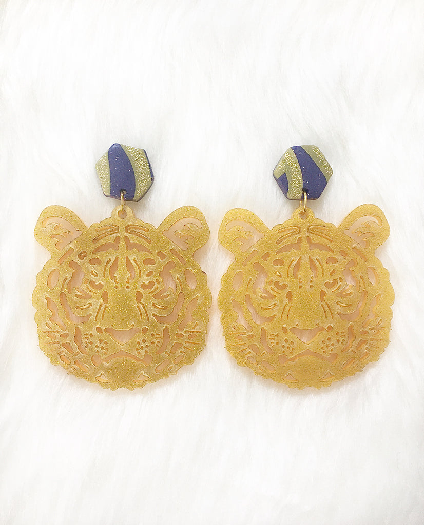 Glitter Tiger Earrings