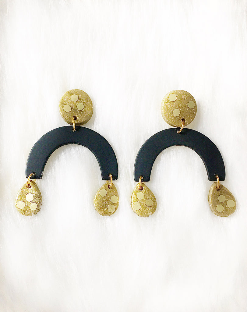 Black & Gold Rainbow Earrings