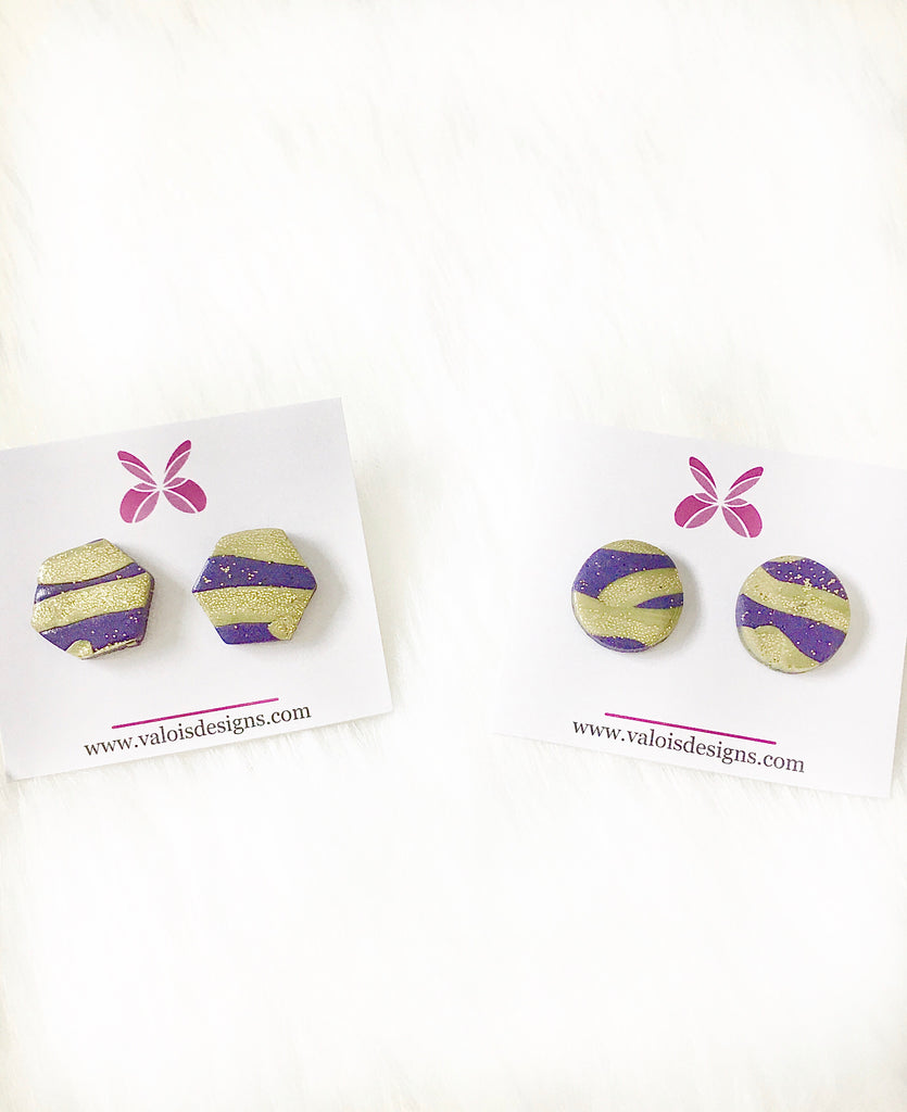Purple & Gold Glitter Stud Earrings