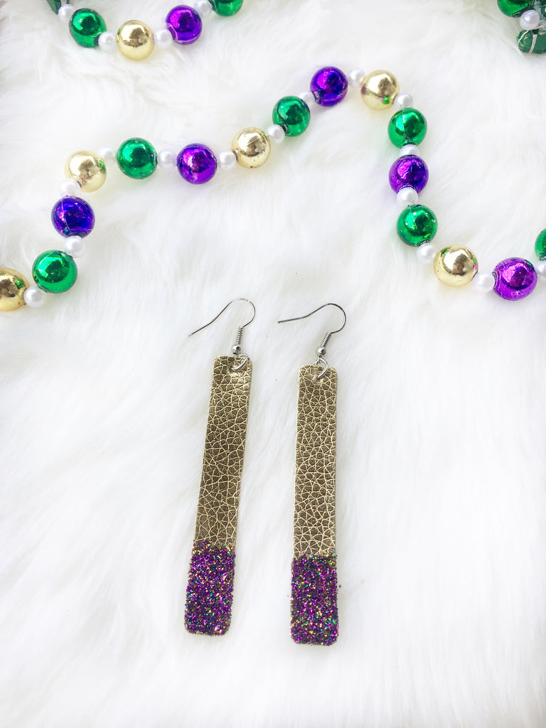Glittered Leather Earrings