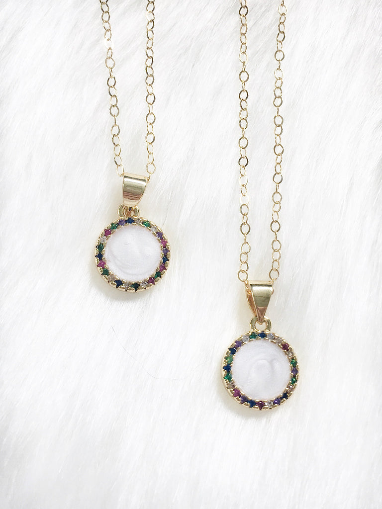 White Circle Necklace