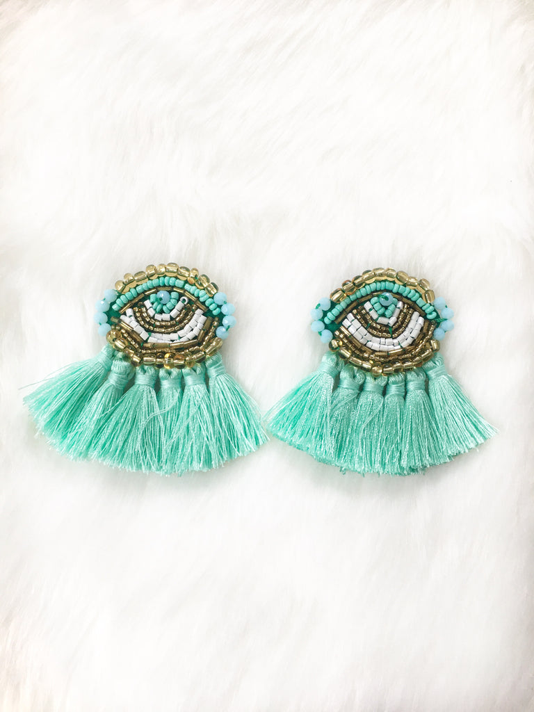 Mint Evil Eye Tassel Earrings