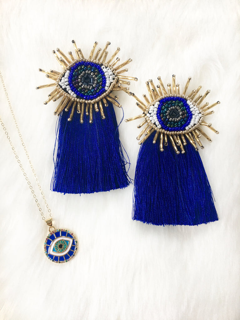 Blue Evil Eye Tassel Earrings