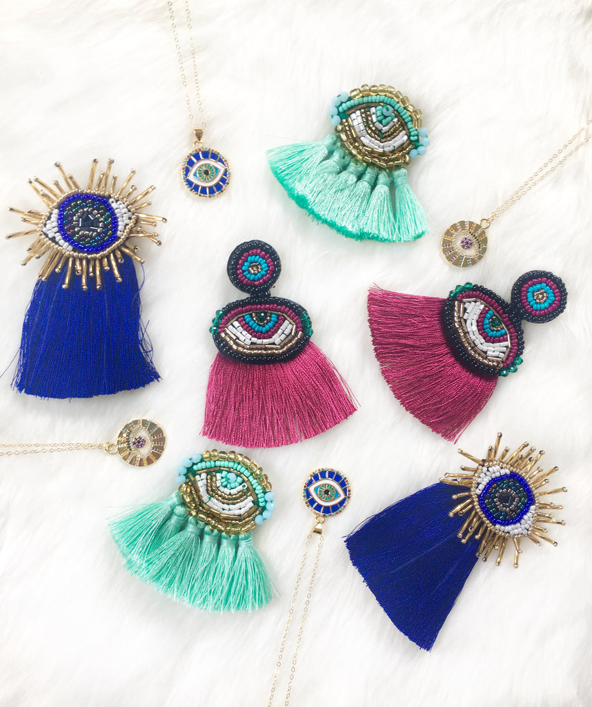 Mauve Evil Eye Tassel Earrings
