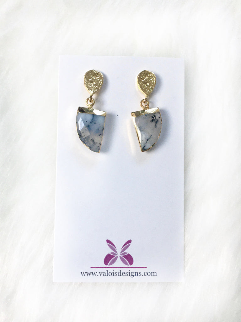 Dendrite Opal Stone Earrings