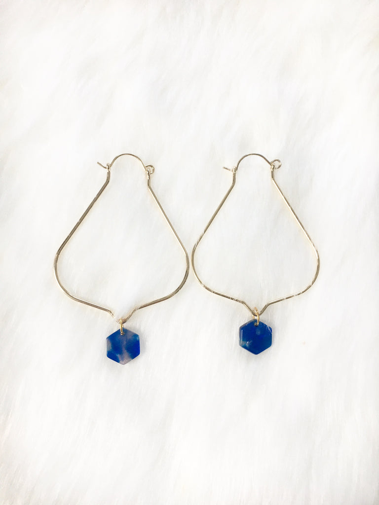 Sapphire Resin Hoop Earrings