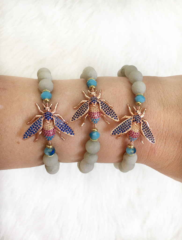 Copper Bee Beaded Bracelet