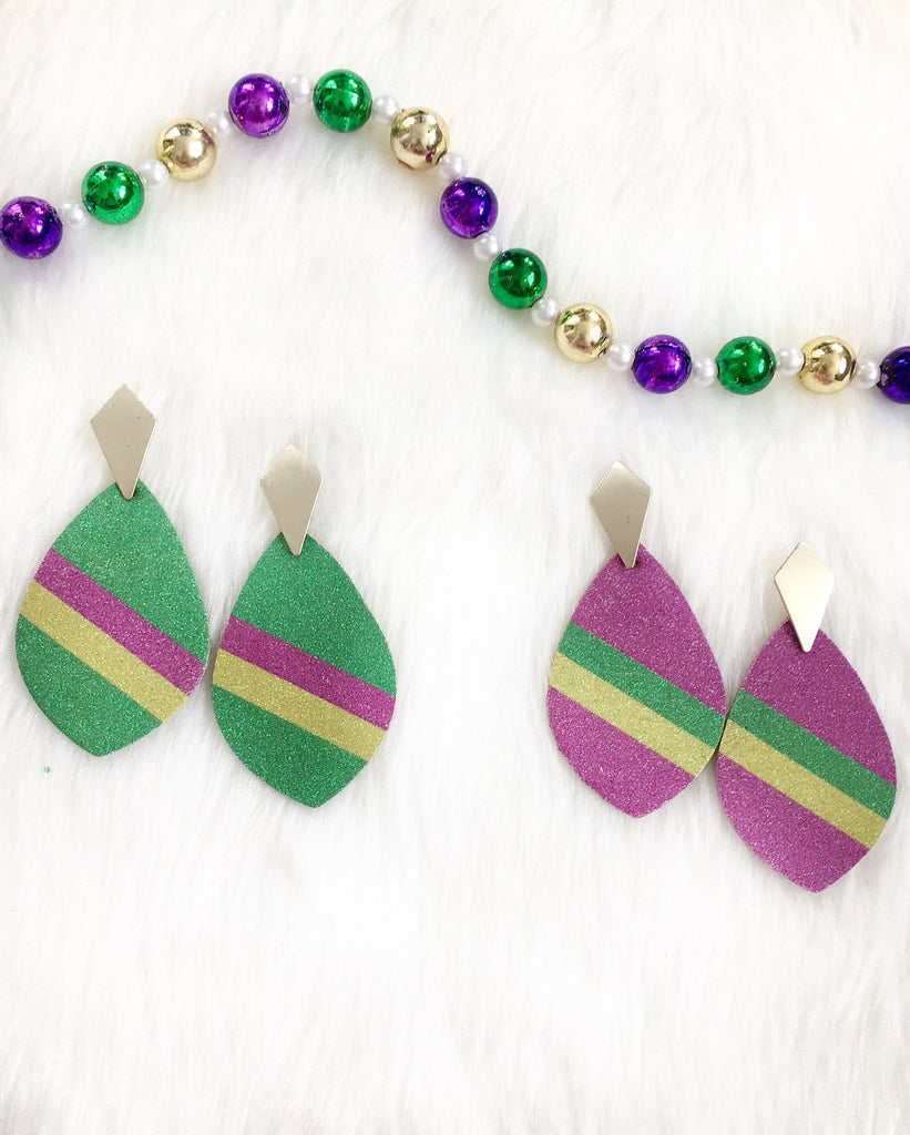 Leather Glitter Earrings