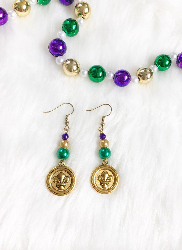 Mardi Gras Gold Fleur De Lis Earrings