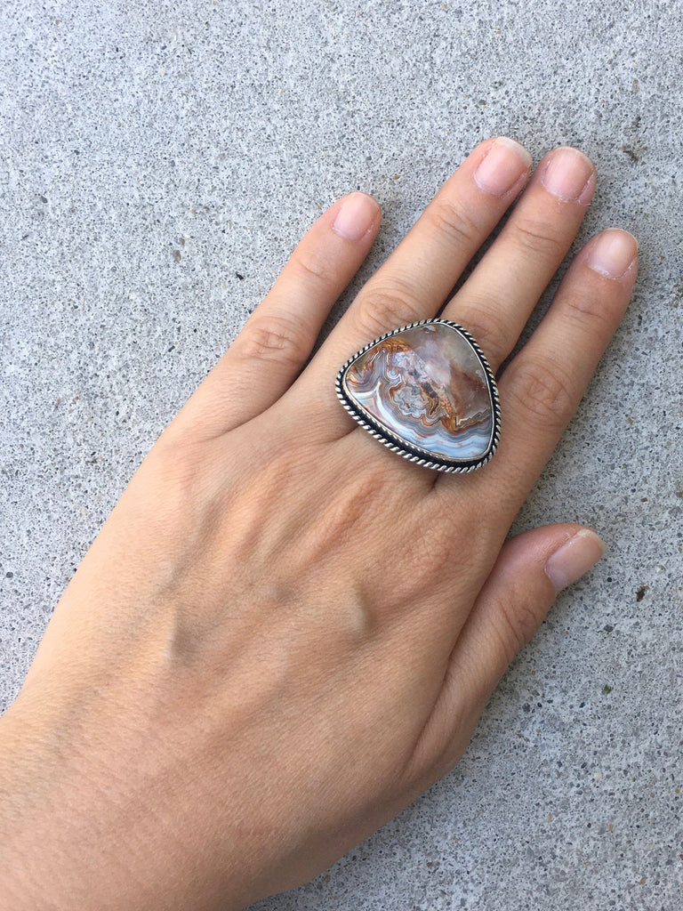 Mexican Laguna Agate Stone Ring - Size 7