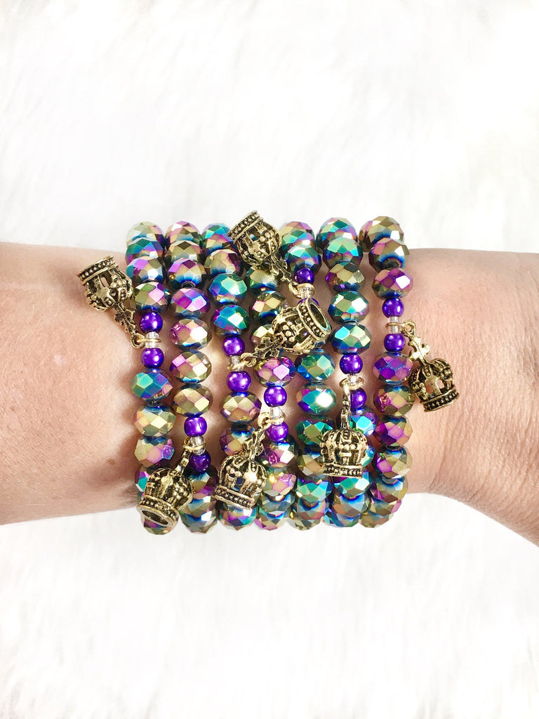 Multi Colored Beaded Mardi Gras Bracelet
