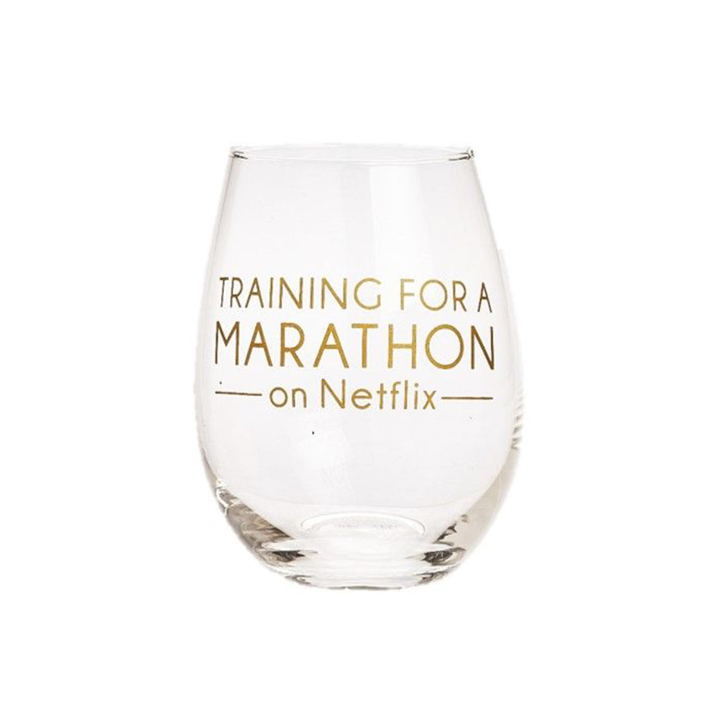 """Training for a Marathon on Netflix"" Stemless Wine Glass"