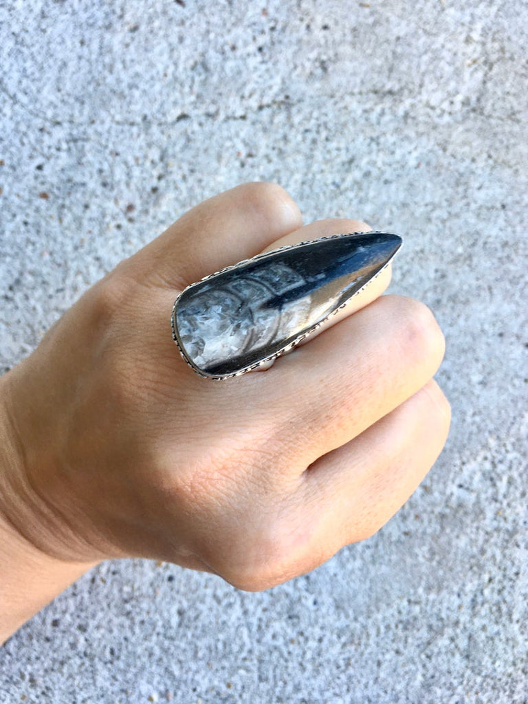 Orthoceras Fossil Stone Ring - Size 6.5