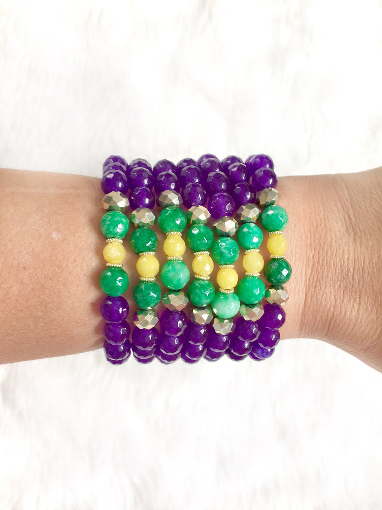 Purple Beaded Mardi Gras Bracelet