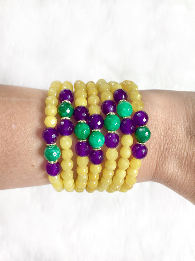 Yellow Beaded Mardi Gras Bracelet