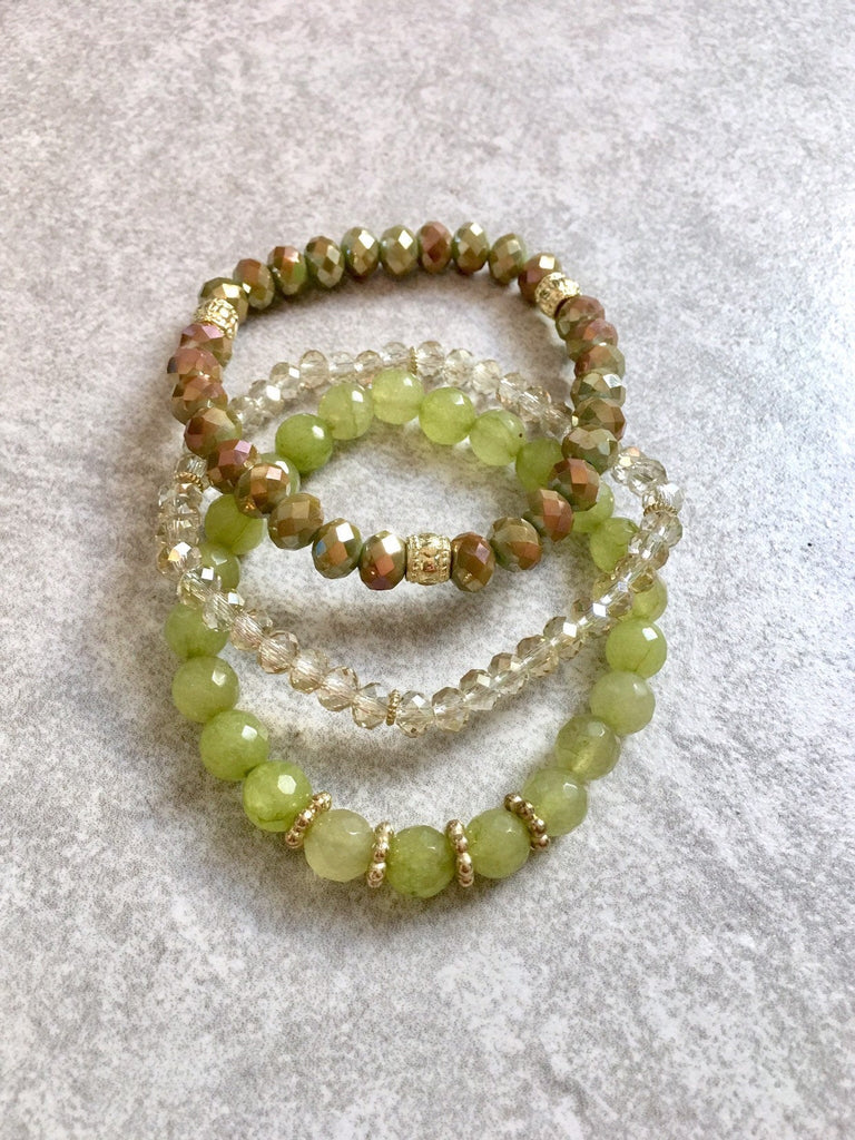 Green & Tan Beaded Bracelet Stack