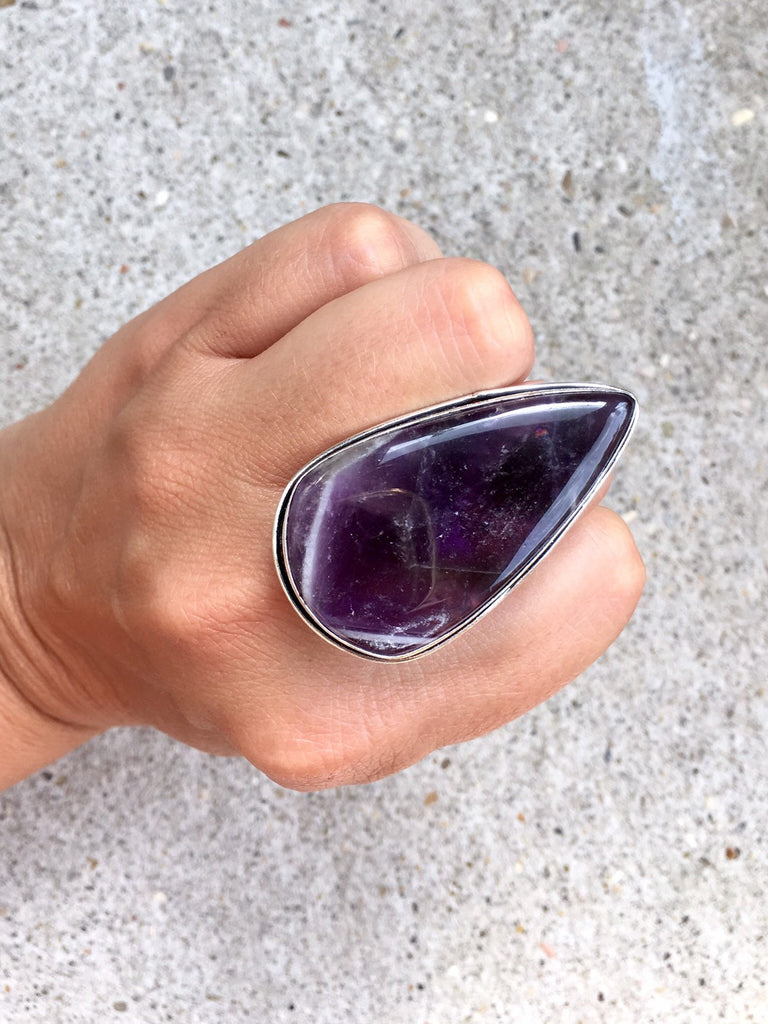 Amethyst Stone Ring - Size 7