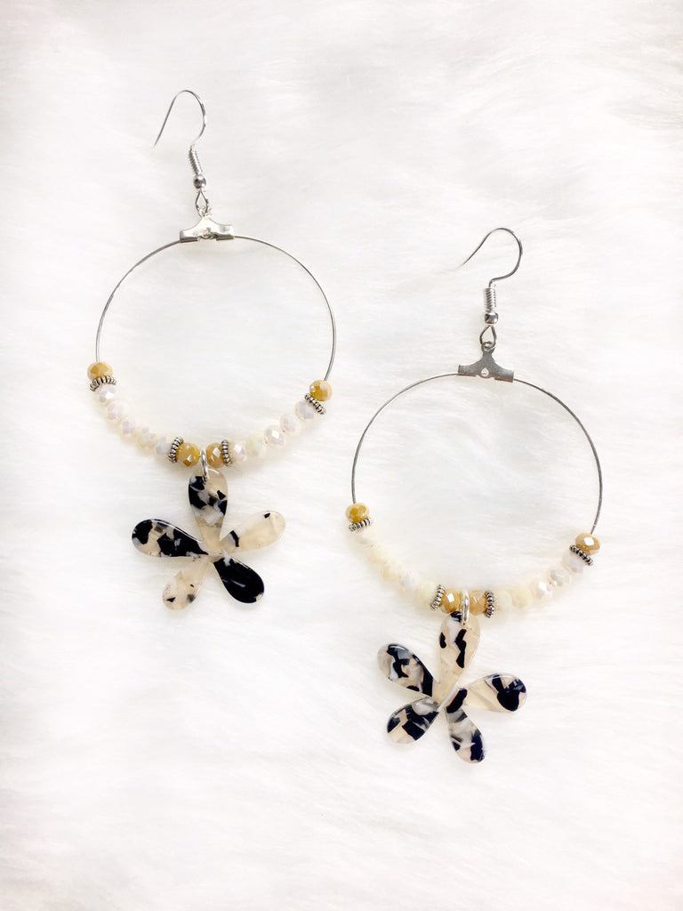 Resin Flower Hoop Earrings