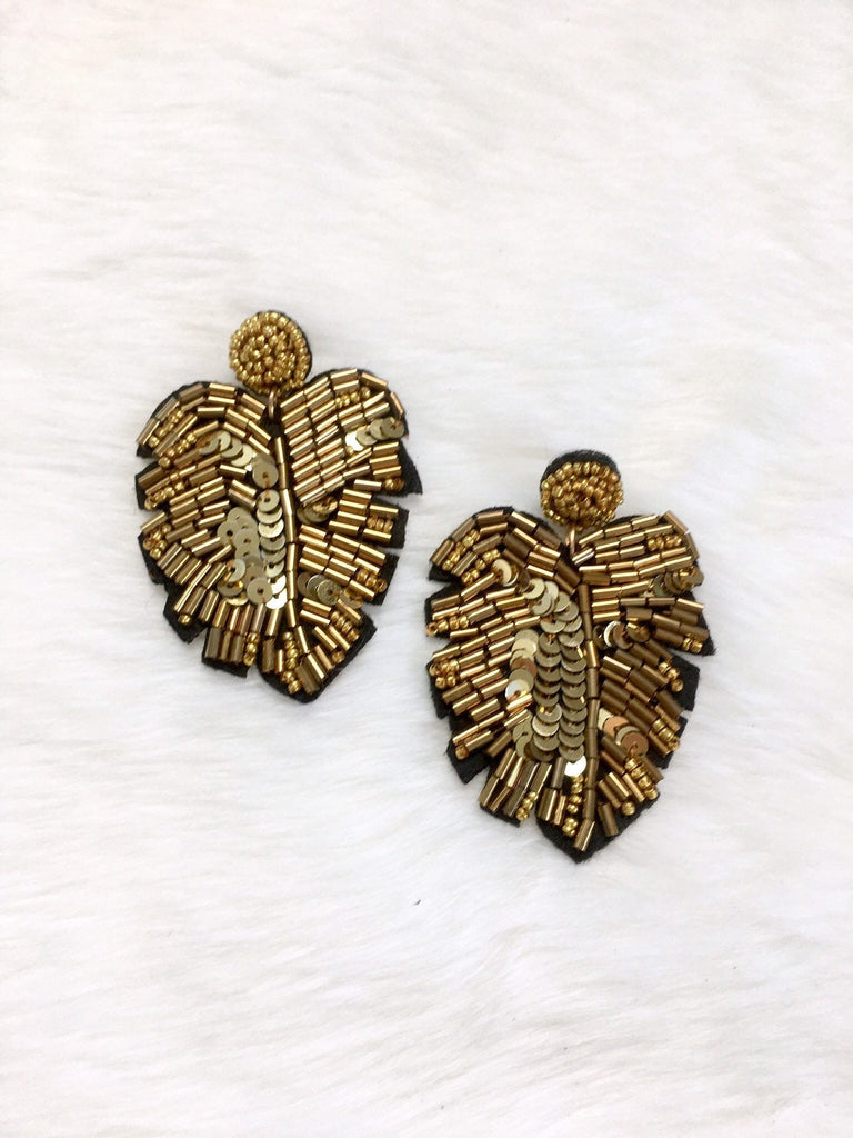Black & Gold Sequin Monstera Leaf Earrings