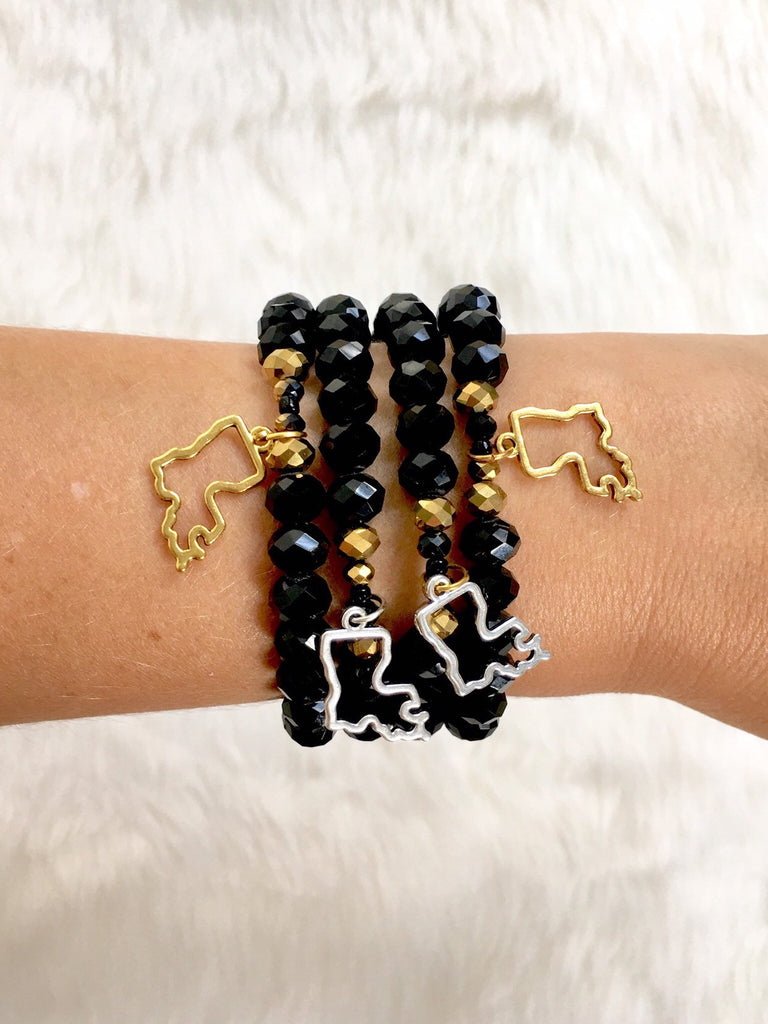 Black and Gold Louisiana Charm Bracelet