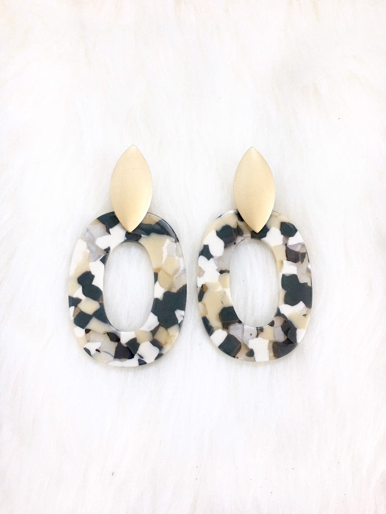Black & Gold Resin Stud Earrings
