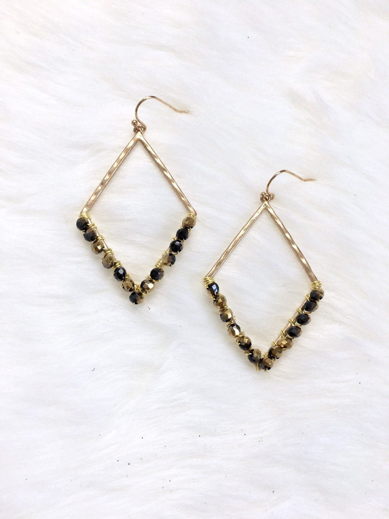 Black & Gold Beaded Hoop Earrings