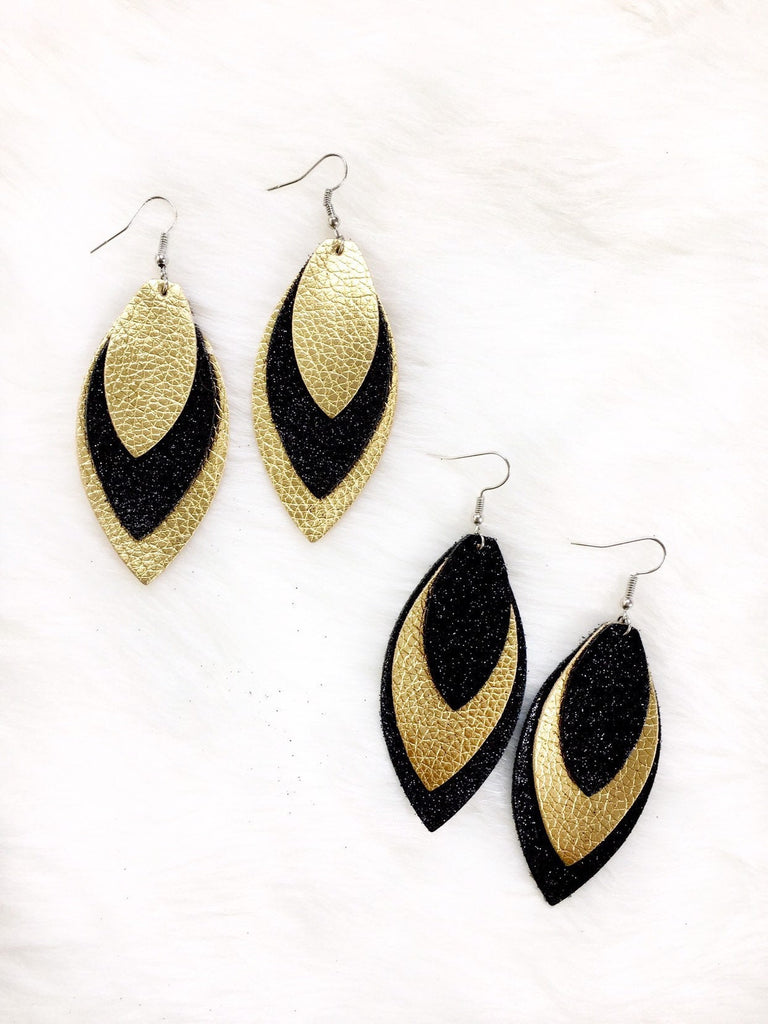Glittered Leather Teardrop Earrings
