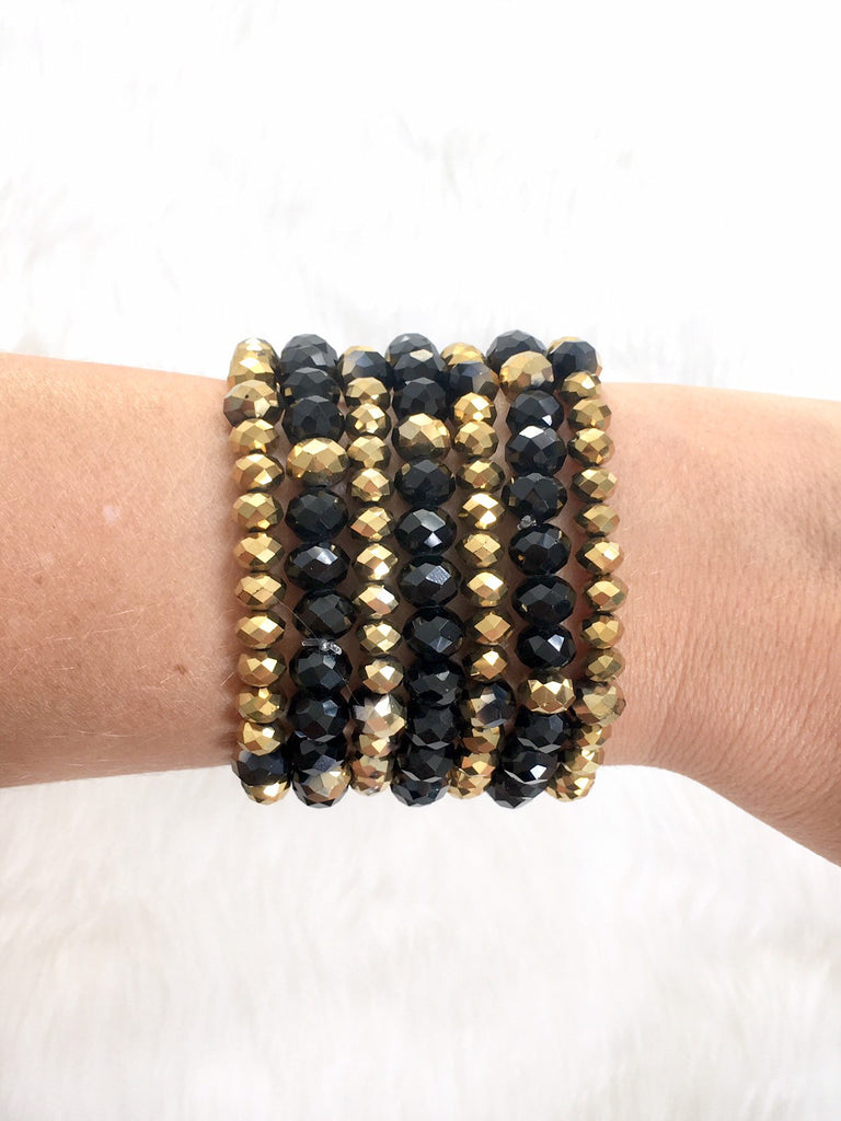 Black and Gold Bracelet Stack