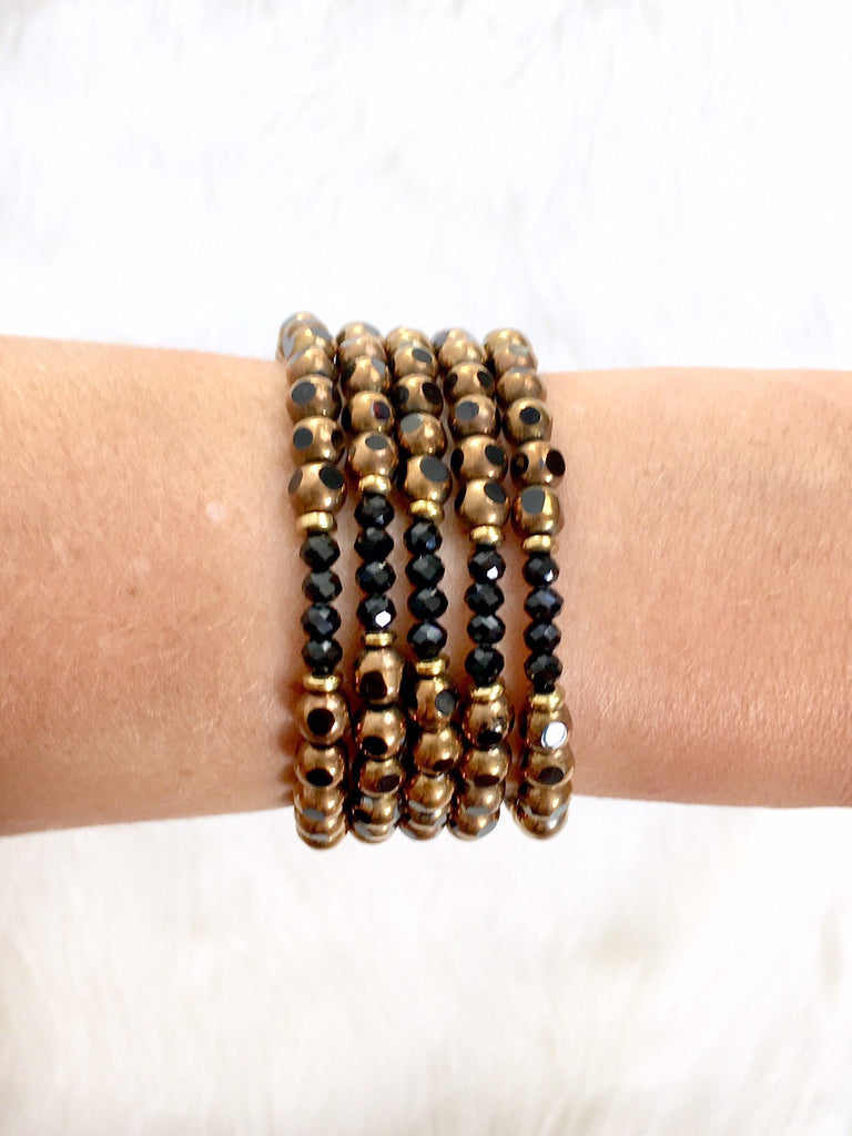 Black and Gold Bracelet // Saints Bracelet