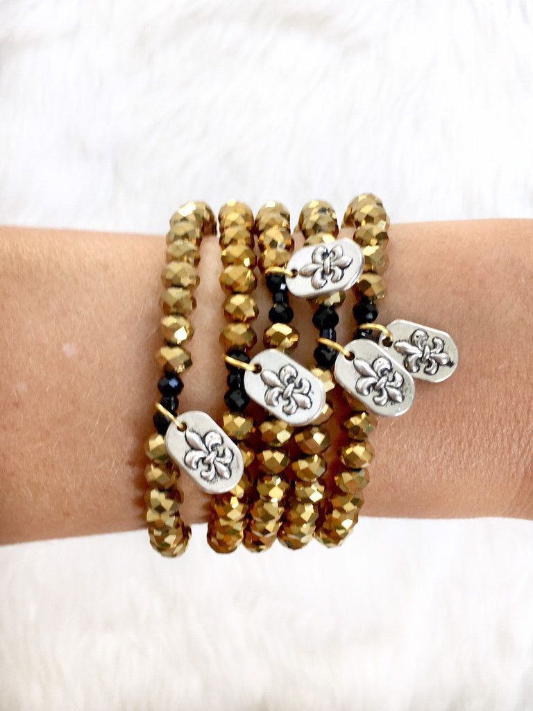 Black and Gold Stretch Charm Bracelet