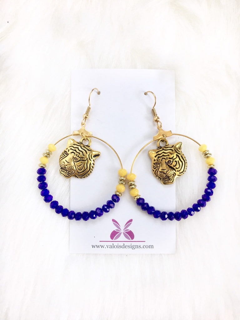LSU Tiger Beaded Hoop Earrings