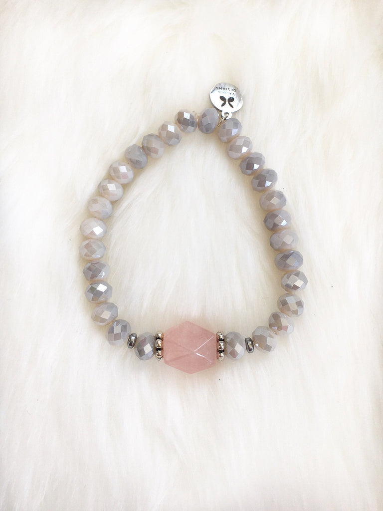 Rose Quartz & Czech Glass Bracelet