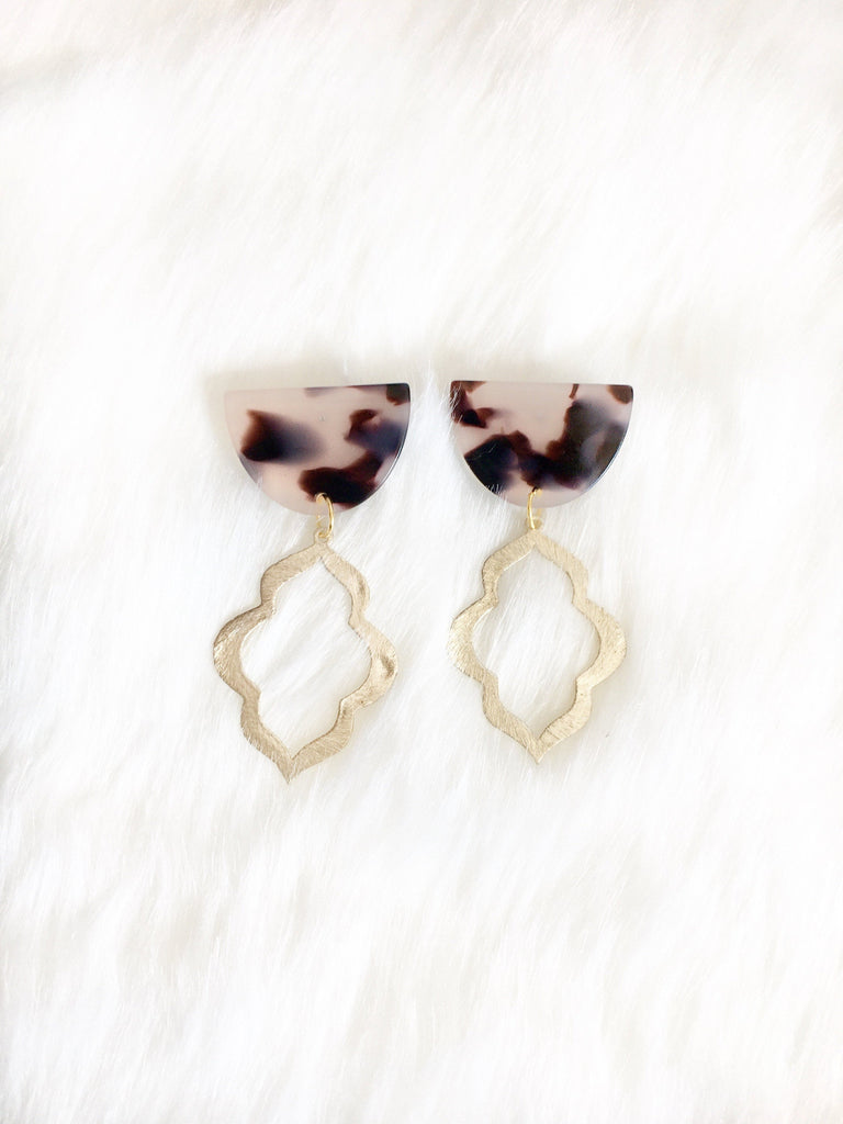 Leopard Resin Stud with Gold Drop Earrings