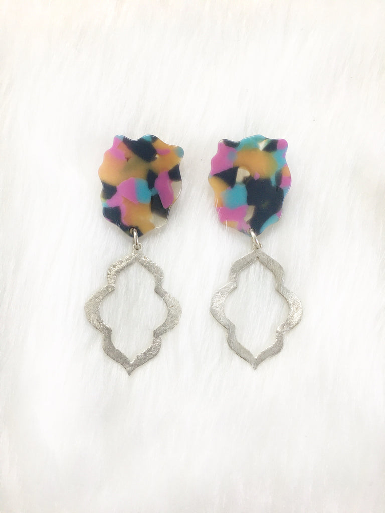 Multi-Color Resin Ear w/ Silver Plated Drop