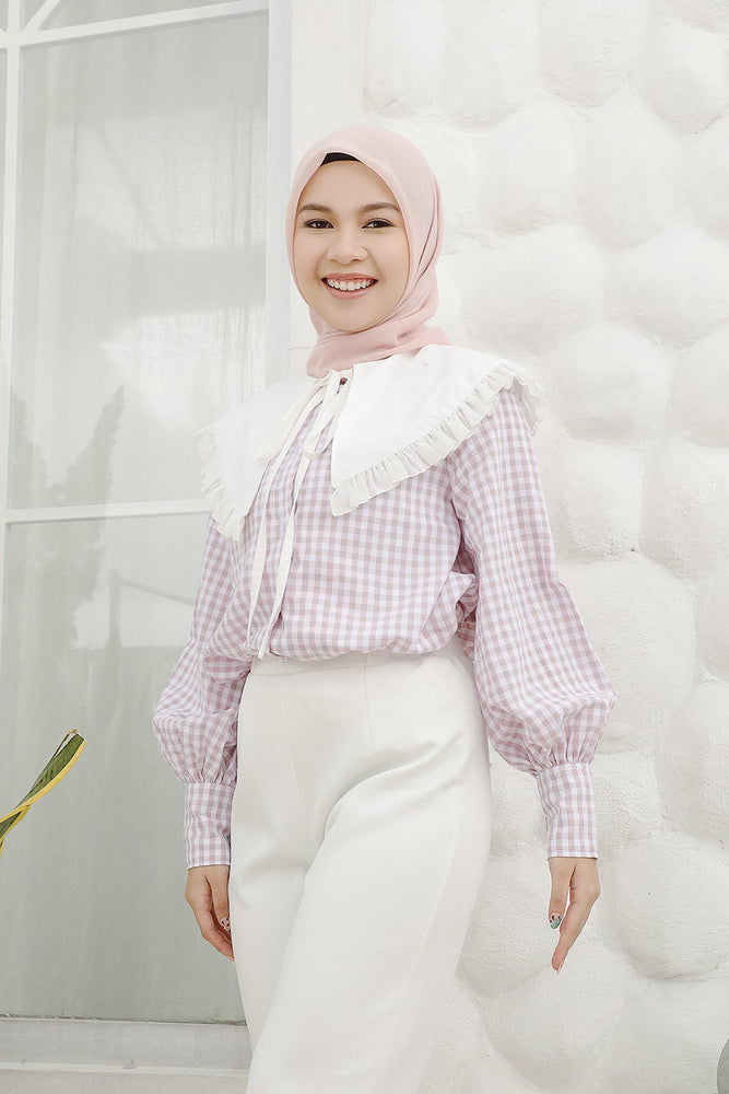 Iva Lilac Gingham  top