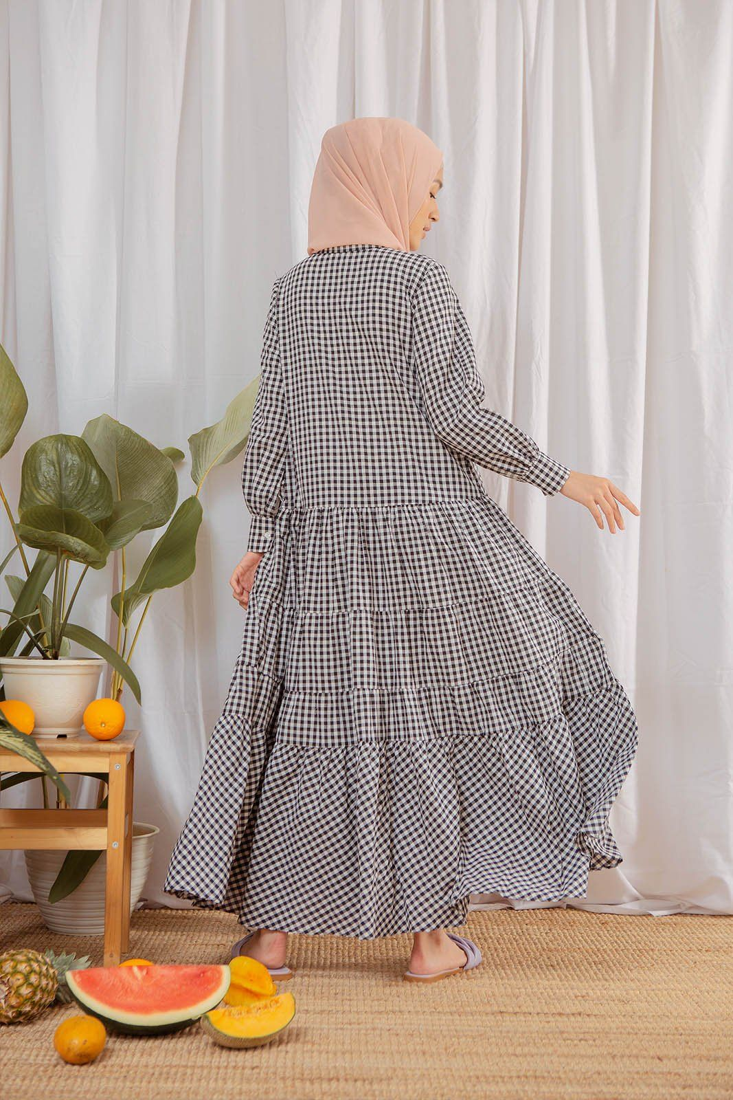 Micha Black Gingham Dress