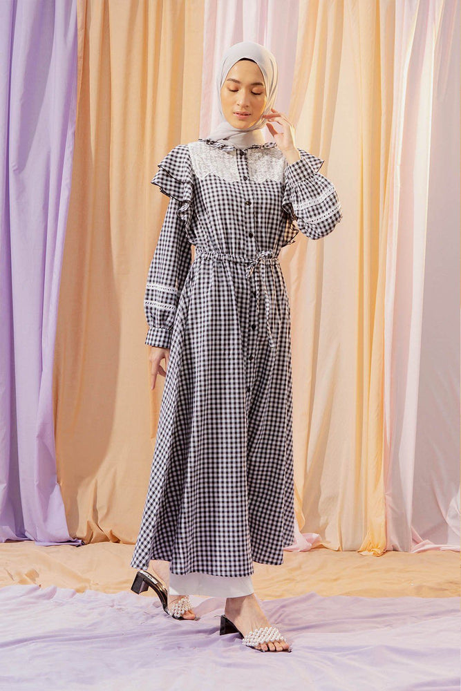 Load image into Gallery viewer, Nakila Black Gingham Dress