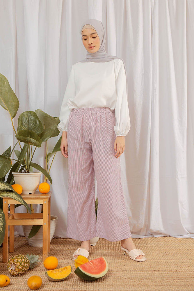 Amna Stripe Burgundy Pants