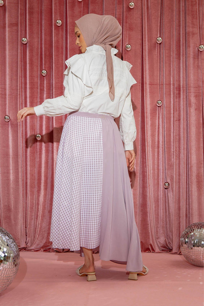 Load image into Gallery viewer, Nainara Lilac Gingham Skirt