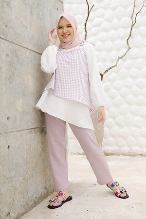 Load image into Gallery viewer, Hafika Lilac Gingham Top