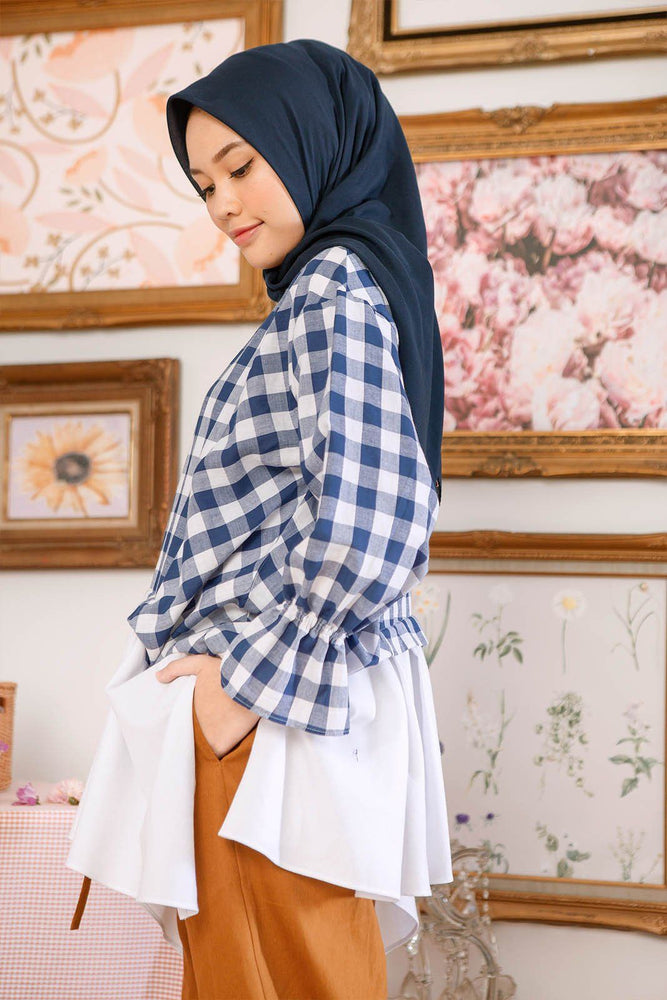 Maya Navy Gingham Top