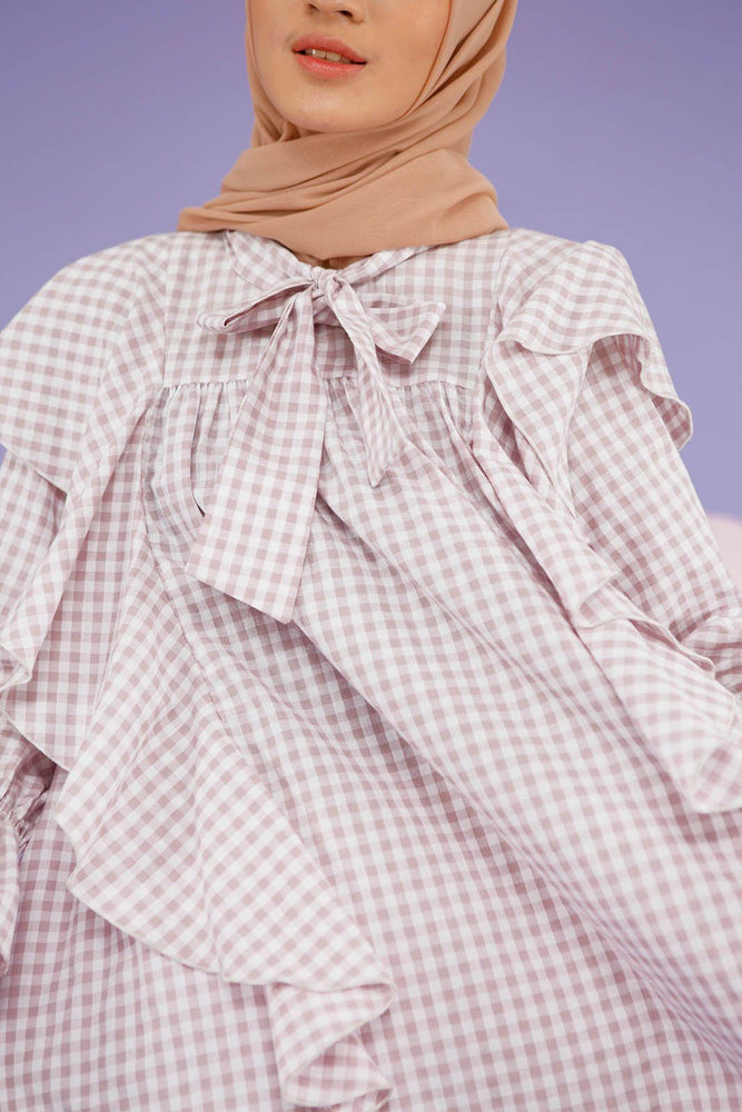 Gamila Purple Gingham top