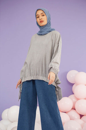 Zaina Grey Gingham top