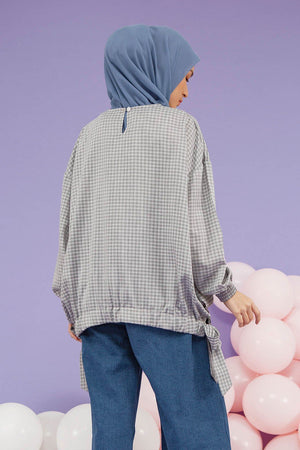 Load image into Gallery viewer, Zaina Grey Gingham top