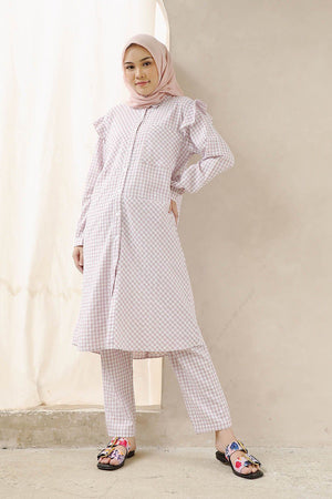 Load image into Gallery viewer, Ericha Lilac Gingham Tunic